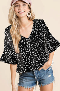 V-Neck Top with Ruffled Cuffs