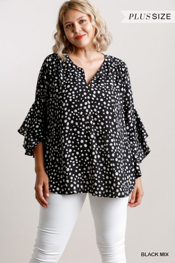 Curvy Girl Dalmatian Print Split Neck Top