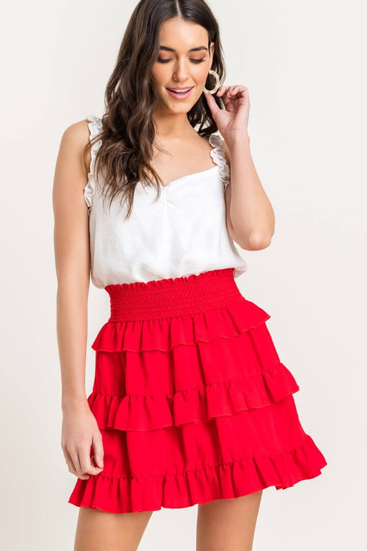 Ruffle Smocked Mini Skirt