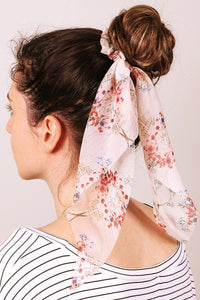 Sheer Floral Print Ponytail Scrunchie