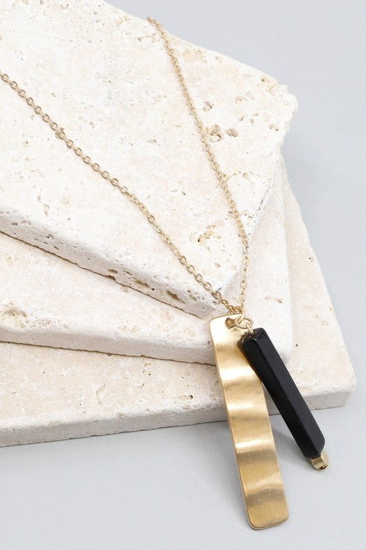 Natural Stone Metal Bar Necklace
