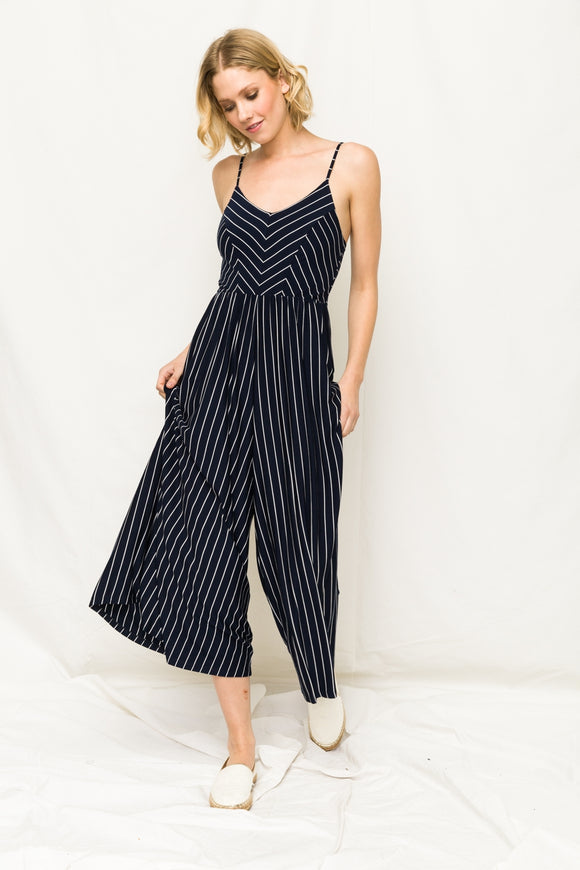 V-Neck Wide Leg Stripe Jumpsuit