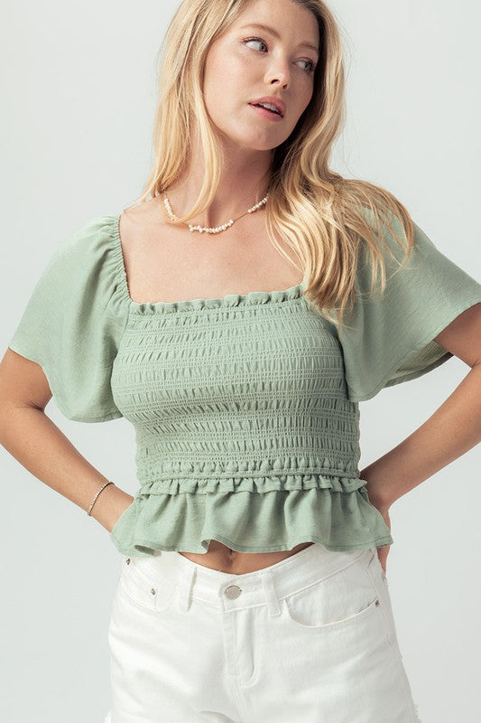 Flutter Sleeve Smocked Crop Top