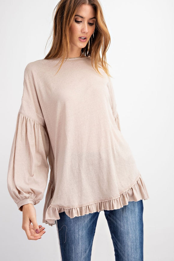 Balloon Sleeve Loose Fit Tunic