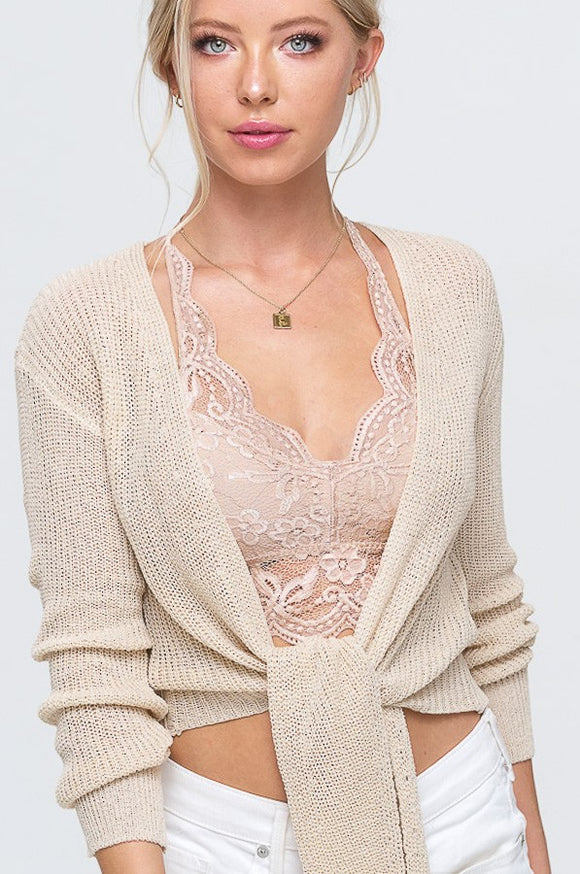 Soft Ribbed Knit Sweater Cardigan