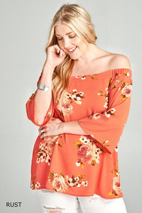 Off-shoulder Floral Print Bubble Crêpe Blouse