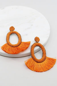 Oval Seed Bead Tassel Earrings