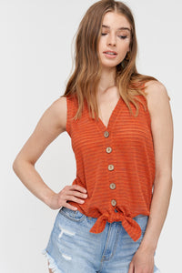 Textured Button Front Tank