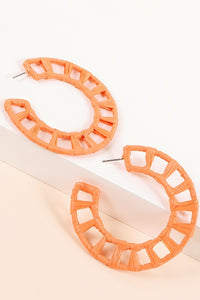 Raffia Rapped Open Hoop Earrings