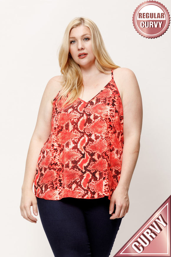 Curvy Girl Orange Snake Tank