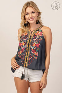 Embroidered Circle Neck Top