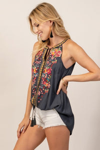 Curvy Girl Embroidered Circle Neck Top