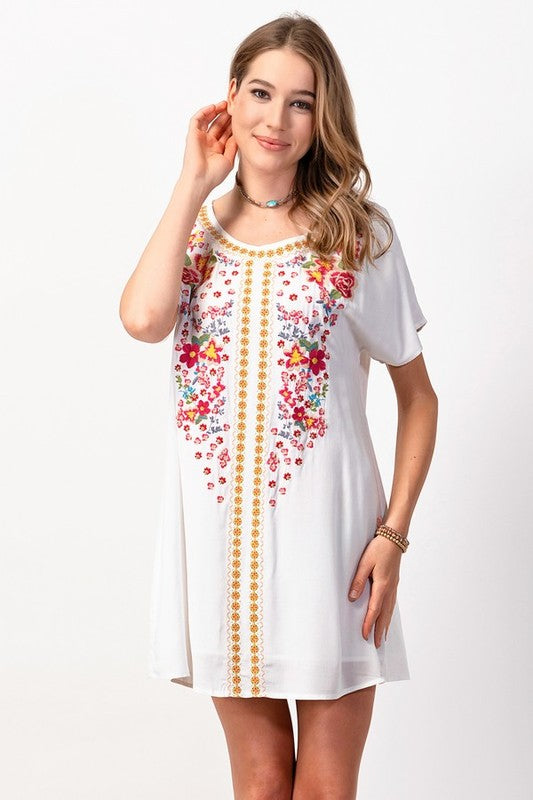 Curvy Girl Dolman Embroidered Shift Dress