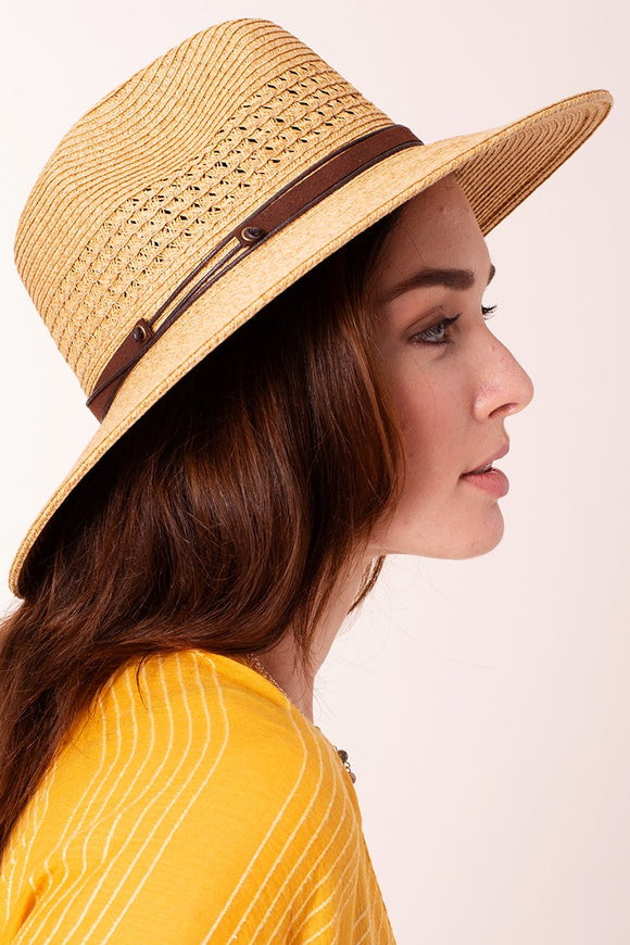 Straw Panama Hat Leather Detail