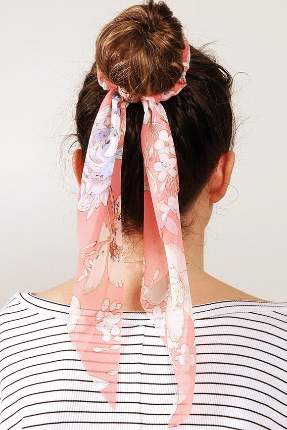 Floral Sheer Hair Scrunchie