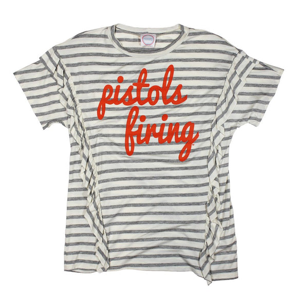 Pistols Firing Striped Top