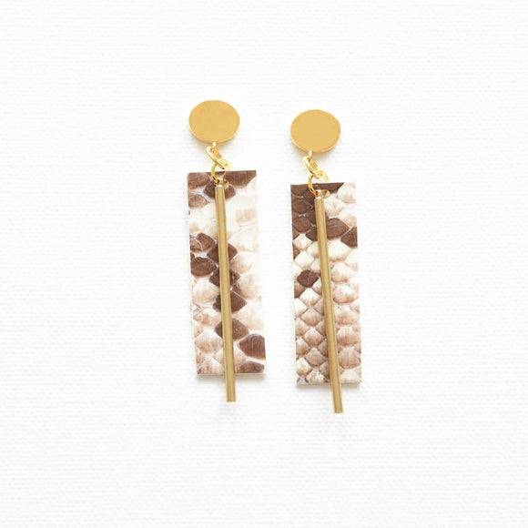 Python Leather Brass Post Earrings