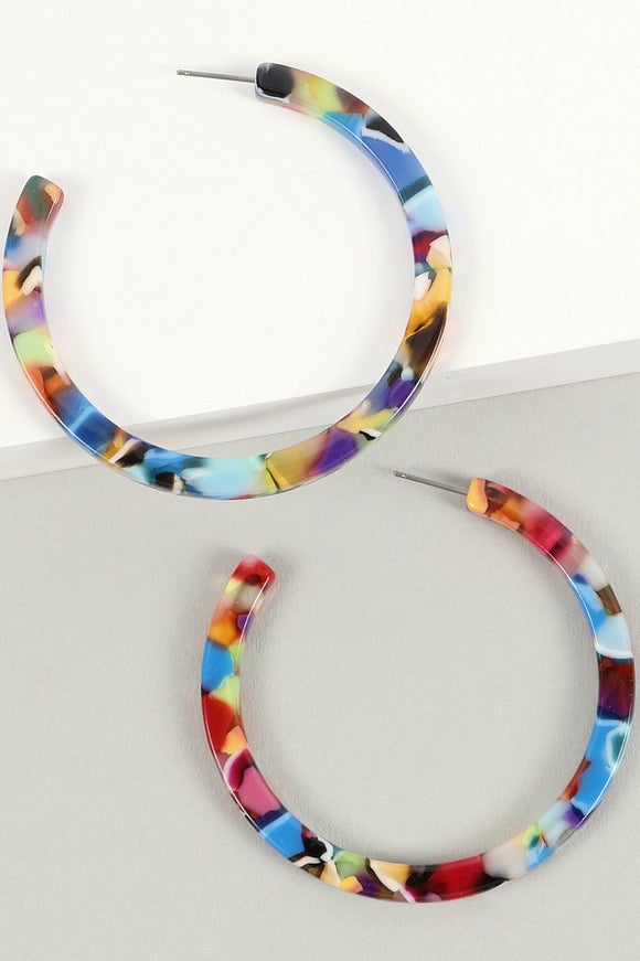 Marbled Acetate Open Hoop Earrings