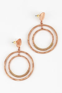 Double Hammered Circle Post Earrings