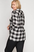 Long Sleeve Surplice Plaid Top