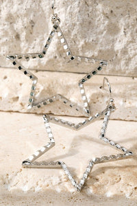 Textured Star Hoop Earrings