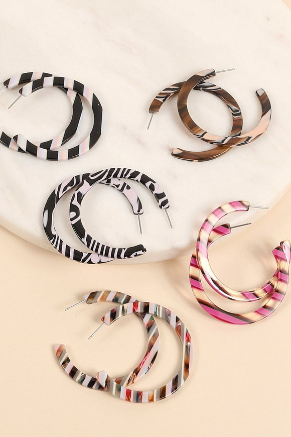 Striped Acetate Hoop Earrings