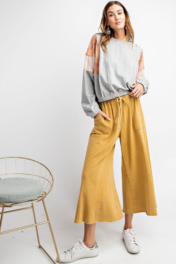 Terry Knit Wide Leg Pants