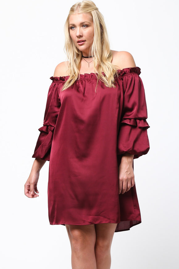 Off-The-Shoulder Ruffle Detail Dress