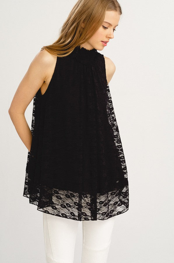 Sleeveless Lace Smocked Neck Lined Blouse