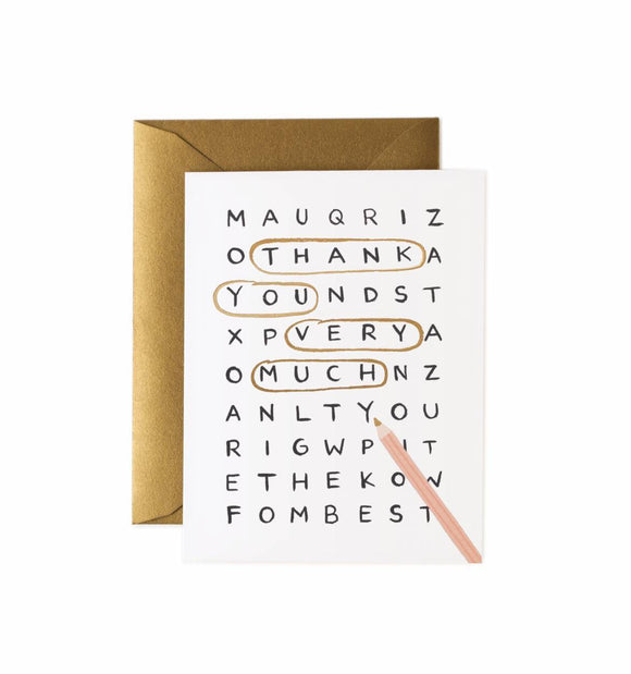 Word Search Thank You Card