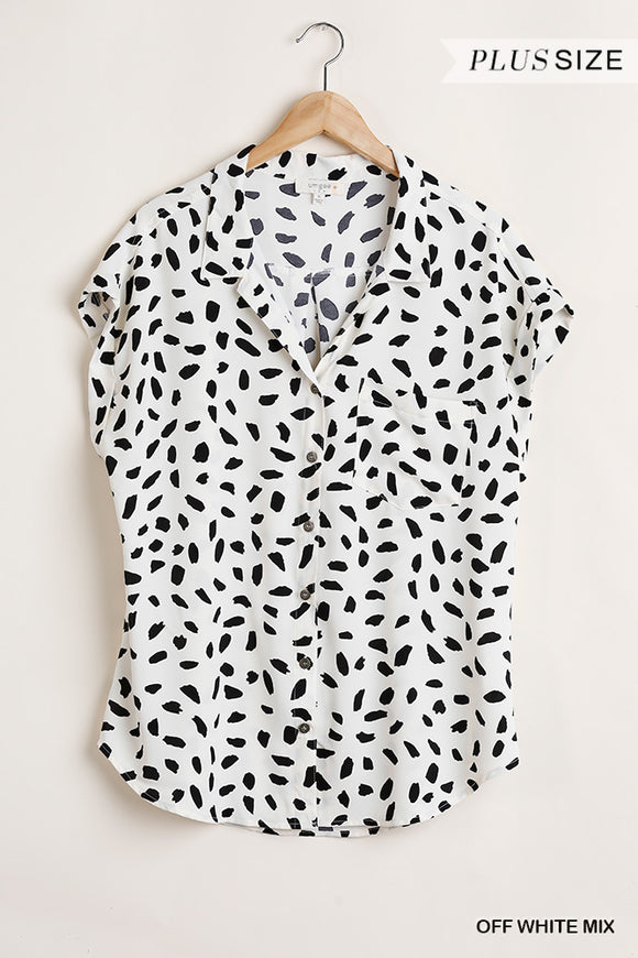 Curvy Girl Dalmatian Button Down Blouse