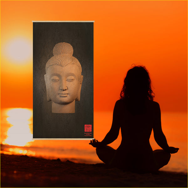 Buddha Wall Decor - Gandhara Antique Kakémono scrolling poster (dark) AK-005