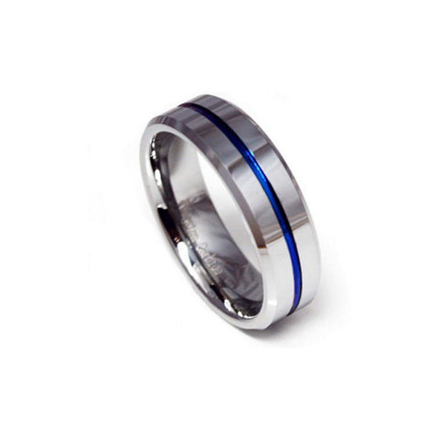 HOT SELLING BLUE & WHITE SILVER NAVY 6MM-8MM TUNGSTEN CARBIDE RING