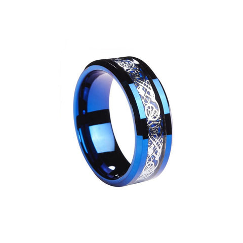 Brilliant 8mm Tungsten Carbide Ring Silvering Celtic Dragon Blue Carbon Fibre Inlay Band