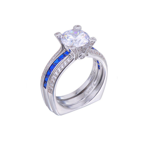 SEPTEMBER SAPPHIRE BEAUTIFUL BLUE LINE DETACHABLE BLUE SAPPHIRE WHITE GOLD CUBIC ZIRCON STONE RING
