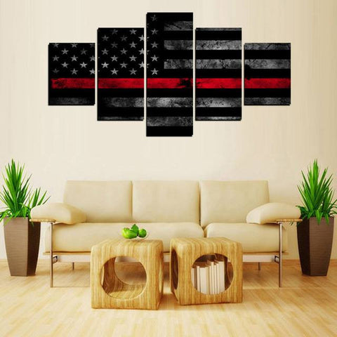 5 Panels Canvas Print Wall Art Picture - Thin Red Line Flag