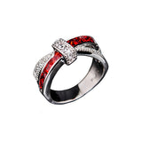 STUNNING RED LINE FIREFIGHTER GIRL 10KT WHITE GOLD FILLED PRINCESS RING