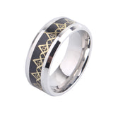 6mm Three colors Carbon fiber Free mason 316L Stainless Steel finger rings for men wmen wholesale