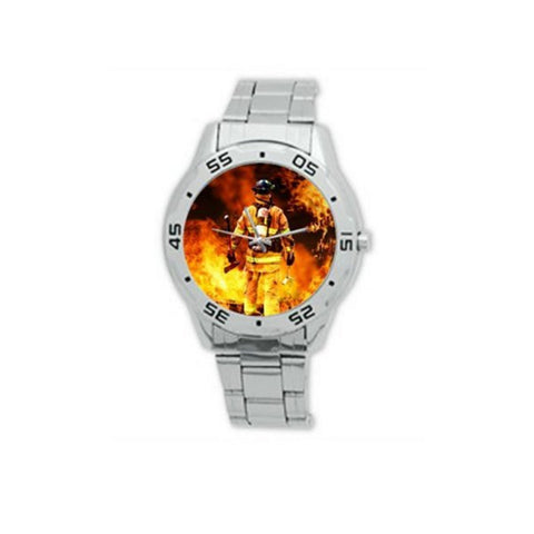 Firefighter Fireman Putting Out Fire Analogue Stainless Steel Men's Watch