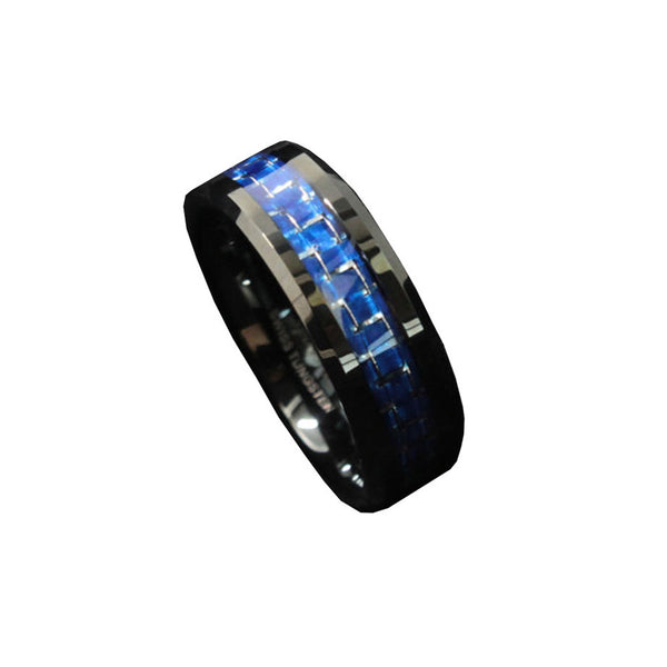 COASTGUARD BRAND NEW EDITION*** Attractive Tungsten Ring with Carbon Fiber 8mm Black and Blue