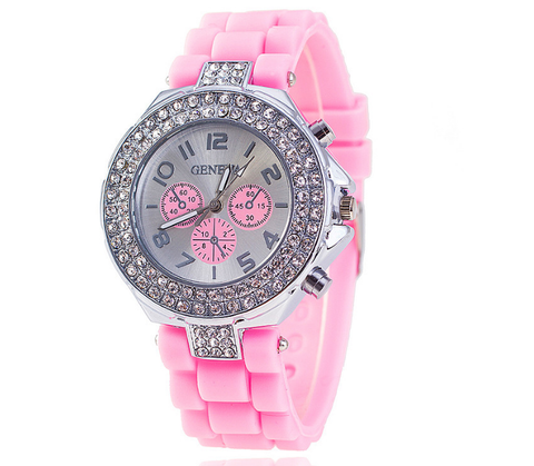 Glittery Crystal Studded Pink Watch For Breast Cancer Awareness
