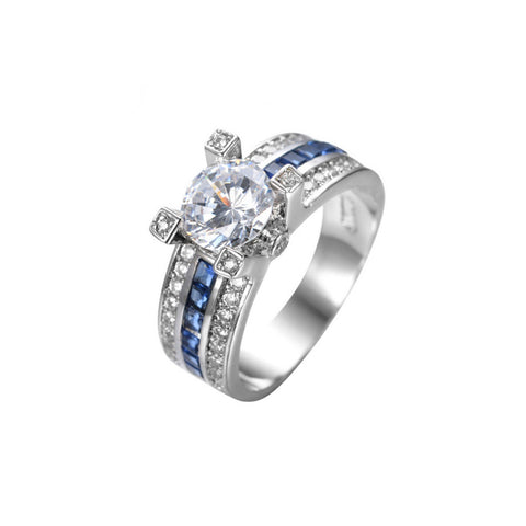 BRAND NEW AIRFORCE GIRL FINE WHITE GOLD SAPPHIRE SIMULATED CZ RING