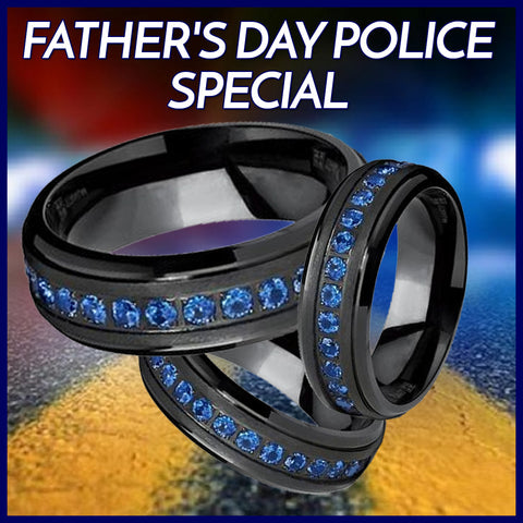 BEST SELLER *** AMAZING Black Titanium Men's Eternity Ring Band With Deep Blue Cubic Zirconia CZ