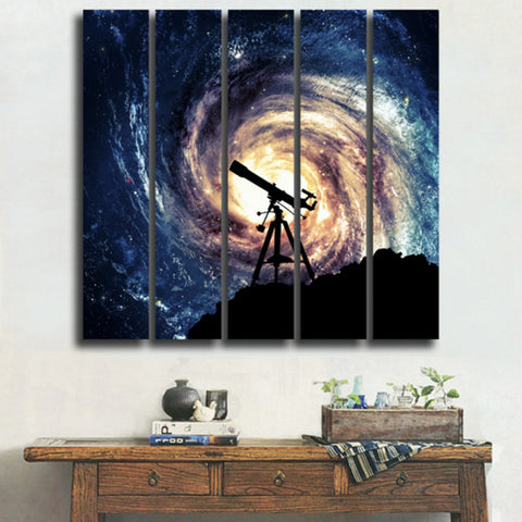 Science Galaxy Fiction Scape Painting Canvas Art 5 Panel
