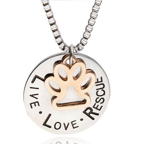 Live, Love, Rescue Round Pendant Necklace with Paw Charm