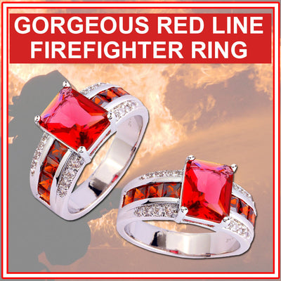 RAVISHING RED LINE FIREFIGHTER PRINCESS RING *** BRAND NEW EDITION