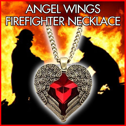 Angel Brand Vintage jewelry red gemstone heart love pendant long chain necklace Angel Wing
