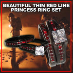 Beautifully Designed Thin Red Line Princess Cut CZ Ring Two Ring Set
