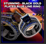 Beautiful Black Rings Set - Gold Plated Cubic Sapphire Simulated Stone