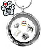 Beautiful I ♥ My Husky Floating Charm Glass Locket Pendant Necklace for Siberian Husky Dog Lovers